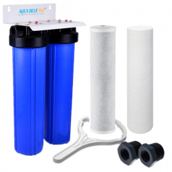 20 Inch Big Blue Twin Water Filter Housing, 10 Micron CTO Carbon Block and 5 Micron Sediment Water Filter