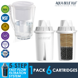 Brita Classic, Laica Classic, Kenwood Universal Jug Filters Compatible Water Filter Cartridge - Pack of 6