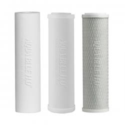 "Undersink 3 Stage Water Filter Cartridges Ceramic -PP- Carbon 10""- Complete Set"