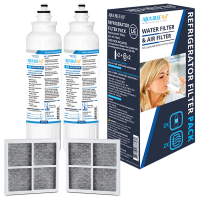 2X LG LT800P Replacement Water Filter with 2X LG LT120F Replacing Air Filter - Refrigerator Filter Pack