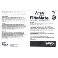 Genuine APEX Filtamate Brass Plastic Pressure Limiting Valve FMBP-350
