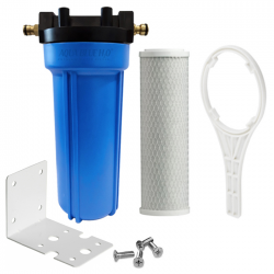 Single Caravan Water Filter System with Brass Hose Connection Fitting