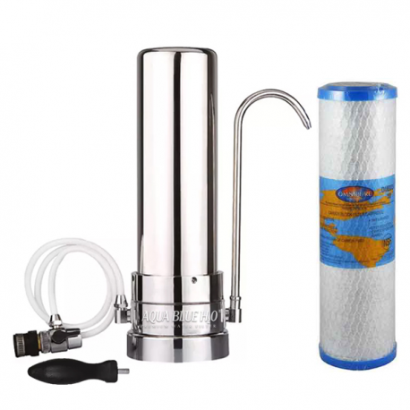 Stainless Steel Counter Top Drinking Water Filter System with Omnipure OMB934 1 Micron Carbon Block
