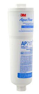 The 3M™ Aqua-Pure™ In-Line Water Filter System, AP717, is a single cartridge that helps reduce sediment, chlorine taste and odor and scale from your drinking water and ice.
